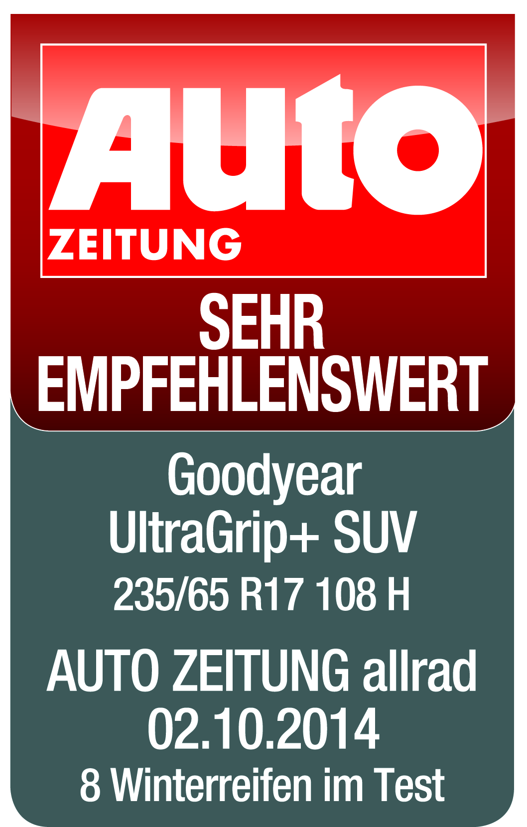 Goodyear UltraGrip SUV - Highly recommended - Auto Zeitung - 2007