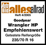 Goodyear Wrangler HP All Weather - Aanbevolen - Auto Bild Allrad - 2005