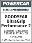 Goodyear UltraGrip Performance 2 — Bardzo polecana — Powercar — 2008