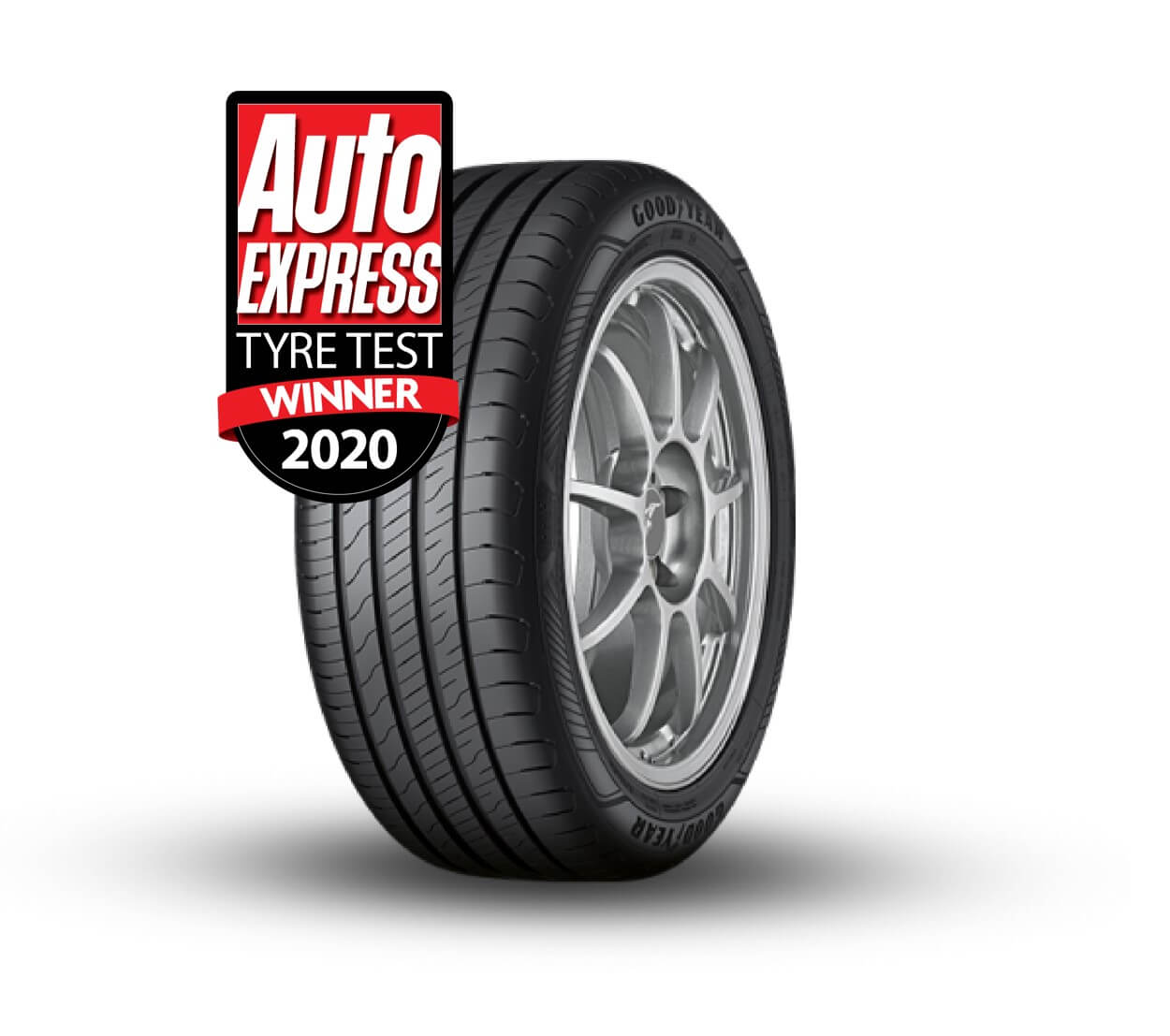 EfficientGrip Performance 2 Tyre Shot with 2020 Auto Express Summer Tyre Test Win badge