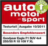 Goodyear Eagle F1 Asymmetric SUV - Highly recommended - Best in test - Auto Motor und Sport - 2011